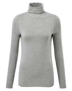 Pure Collection Grey Jersey Roll Neck