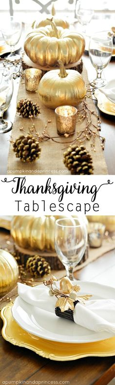 Gold Thanksgiving Tablescape - gold spray painted pumpkins and pine cones with a burlap table runner