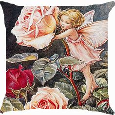 Cushion cover throw pillow case 18 inch fairy angel rose flower garden fantasy paradise cute both sides image zipper -- Huge discounts available now! : Decorative Pillows