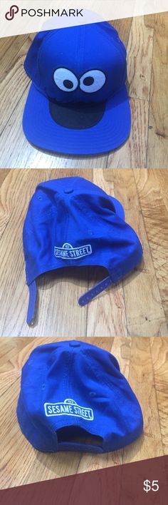 SnapBack cookie 🍪 monster kids hat Kids SnapBack cookie 🍪 monster hat.  Very good condition. Blue color. ASK ALL QUESTIONS PRIOR TO PURCHASE. I AM NOT RESPONSIBLE FOR LOST OR DAMAGE PARCEL OR BUYERS DISSATISFACTION. Sesame Street Accessories Hats