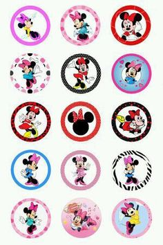 (My note: ideas for Ellie's cards) Minnie Mouse Images, Minnie Mouse Pink, Mickey Minnie Mouse, Disney Mickey, Bottle Cap Art, Bottle Cap Crafts, Bottle Cap Images, Disney Scrapbook, Scrapbooking