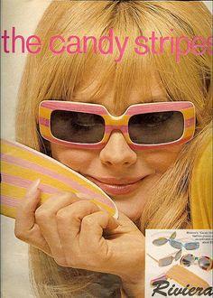 The Candy Stripes Riviera Sunglasses ad ~ Seventeen, February 1967 Retro Ads, Vintage Advertisements, Vintage Ads, Patti Hansen, Lauren Hutton, 60s Fashion Trends, Retro Fashion, Vintage Fashion, 70s Sunglasses