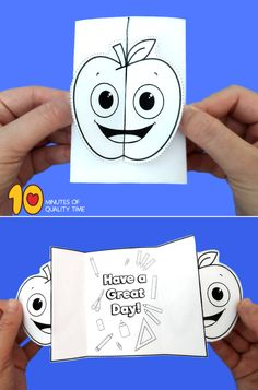 Back to School Folding Card Apple Activities, Fun Activities For Kids, Easy Arts And Crafts, Crafts To Do, Halloween Spider, Halloween Cards, Rosh Hashanah, Quality Time, Kids House