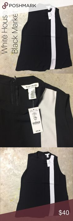 NWT WHBM Asymmetrical Colorblock Shell White House Black Market. NWT. Asymmetrical shell. Colors are black and ecru. Zips in back. Make an offer. Sorry, no trades. ~{We are ALL beautiful.}~ White House Black Market Tops