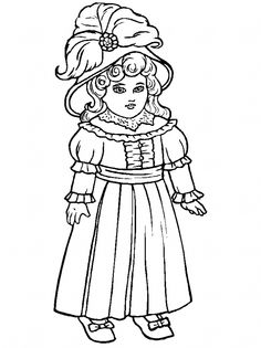 Victorian Doll with Ballgown Coloring Page coloring pages