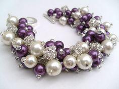 Bridal Jewelry Plum Wedding Pearl Bridesmaid Bracelet by KIMMSMITH