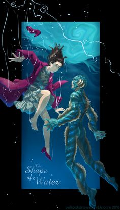 the shape of water Horror Drawing, Water Aesthetic, The Shape Of Water, Romantic Films, His Dark Materials, Alternative Movie Posters, Movie Poster Art, Creature Feature, Anime Scenery