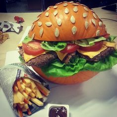 Pin for Later: Carve Your Pumpkin Into . . . A BURGER This Halloween As Perfect as an Ad