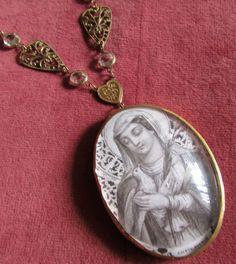 Antique bubble glass necklace religious saint by madonnaenchanted, $189.00
