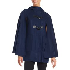 Bcbgeneration Hooded Toggle-Button Caped Coat ($114) ❤ liked on Polyvore featuring outerwear, coats, navy, navy cape coat, hooded coat, blue cape, toggle coats and hooded toggle coat
