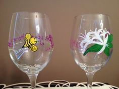 Honeysuckle and Honeybee his and hers wine by LivelyLibations  https://www.facebook.com/pages/Lively-Libations-Glass/243800552462322