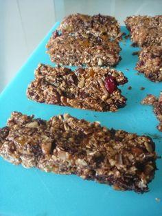 Barres tendres santé aux noix, fruits et chocolat noir