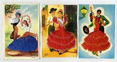 embroidered postcards antique elsi gumier   Elsi Gumier EmbroideredCards of Dancing Couples Bolero