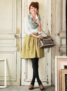 chartreuse skirt, white button down, grey/sage green scarf, black tights, brown shoes