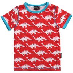 Red Dinosaur Organic Top - ittikid • Scandinavian Children's Clothes - Scandinavian Baby and Kids Clothes | Organic Eco Friendly Kids Clothes from Smafolk, Maxomorra, Duns Sweden, Sture & Lisa