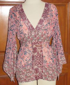 CENTRAL PARK WEST silk/cotton blend bohemian hippie kimono blouse L (T0803J4F) #CentralParkWest #Blouse #Casual