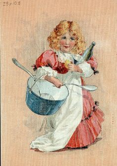 Early cares Cordon Bleu, Vintage Postcards, Images, Illustrations, Digital, Children, Prints, Painting, Home Decor