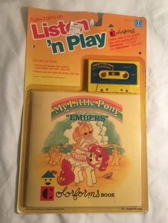 "My Little Pony MLP Vintage G1 Super Rare Listen'n Play Colorforms ""Embers"" MOC!!"