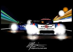 """""""SPEED OF LIGHT""""  Lancia's LC2 and Porsche's 956 duel at Le Mans. Original Art by MLewis"""