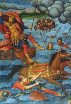 Pharaon et son armée projetés dans la Mer Rouge.  Cathédrale arménienne Saint-Sauveur d'Ispahan, Iran. 1606.