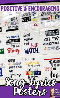"""Brighten your classroom with 24 bright and colorful letter sized posters with positive and encouraging song lyric quotes. Imagine your students' eyes widening and the smiles on their faces when they see """"Don't believe me? Just watch!"""" and connect it with Classroom Bulletin Boards, Music Classroom, Classroom Themes, Classroom Organization, Preschool Bulletin, Music Teachers, Classroom Displays, Classroom Management, Middle School Classroom"""