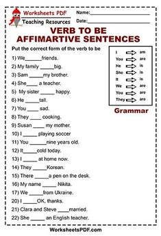 This is the free worksheet for beginners. Here you'll find 22 simple sentences. Verb to be is used with the corresponding pronouns, You need Fill in the blanks with is am are. Fill in the blanks with is am are Option A – Option B English Grammar For Kids, English Grammar Rules, Learning English For Kids, English Phonics, Teaching English Grammar, English Lessons For Kids, English Worksheets For Kids, English Vocabulary Words, Learn English Words
