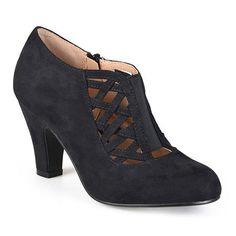 """Crisscross straps on the vamp and a modest chunky heel add vintage flair to these edgy faux suede booties.faux suede """" chunky shaft shaft circumferenceround toesynthetic upperMeasurements are approximate and may vary slightly by size. Suede Booties, Ankle Booties, Rockabilly Shoes, Rockabilly Fashion, Pin Up Shoes, Women's Shoes, Vintage Style Shoes, T Strap Heels, Shoe Carnival"""