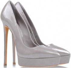 "d36c7c42 Casadei ""Mohawk"" Platform Pumps in Gray Patent Leather #BrianAtwoodHeels  Zapatos Pump, Vanidades"