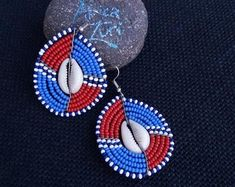 Maasai Beaded Statement Jewelry for the head-turners by AfricaZuri Shell Jewelry, Shell Earrings, Beaded Earrings, Beaded Jewelry, African Earrings, Tribal Earrings, Tribal Jewelry, Unusual Jewelry, Handmade Items