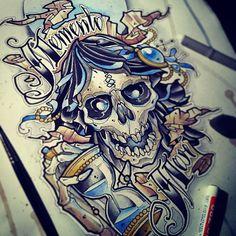 #tattoo #tattooflash #watercolor #hourglass #skull #death