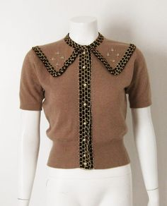 1950s Pringle of Scotland tan cashmere sweater.  Brown velvet ribbon trim with pearls and gold thread/trim.