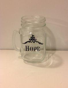 Hope Mason Jar Mug Custom Glass Painted Mason by MaidenLongIsland