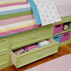 kids' rooms gain the equivalent of an additional dresser when a captain's bed (with storage drawers underneath) is substituted for the usual box spring and mattress.