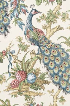 Peacock Toile Wallpaper.  This is a reproduction of the wallpaper in my new dining room, except the blues and reds are switched, and the colors are much deeper.