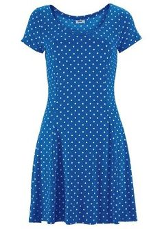 Blue Polka Dot Short Sleeve Beach Dress by Beachtime Polka Dot Shorts, Blue Polka Dots, Polka Dot Print, Marine Uniform, Short Sleeve Dresses, Dresses With Sleeves, Viscose Fabric, Flare Skirt, Retro Fashion
