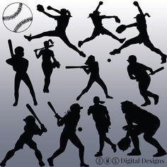 12 Softball Silhouette Clipart Images Clipart by OMGDIGITALDESIGNS