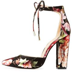 Charlotte Russe Floral Print Lace-Up D'Orsay Pumps ($20) ❤ liked on Polyvore featuring shoes, pumps, black, black shoes, floral pumps, black floral pumps, metallic pumps and black laced shoes