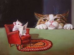 Uninvited by Lucia Heffernan on Curiator, the world's biggest collaborative art collection. Funny Paintings, Animal Paintings, I Love Cats, Cute Cats, Creation Photo, Cat Mouse, Pet Rats, Cat Colors, Cat Drawing