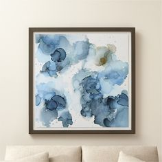 Shop Amphora Blue and Gold Abstract Art.  Titled after an ancient Greek vessel, Amphora shimmers like sunken treasure with a bit of gold amid swirls of blue washes, layered to create to a sense of depth.