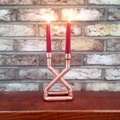 Industrial art copper pipe candle holder centerpiece