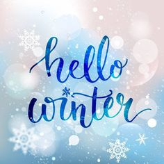 Brush lettering at blue winter background with snowflakes and bokeh lights. Vector card design with custom calligraphy ,