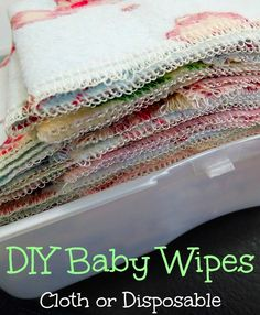 Step-by-step directions on making your own wipes -- either cloth or disposable -- and a story to make you smile :)