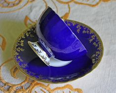 Antique Aynsley Tea Cup and Saucer. Cobalt Blue and Gold Bone China Tea Set Saucer Made in England. Collectible Cup and Saucer. C2273. Beautiful item, highly collectible. Amazing pieces of very fine English porcelain. It is in great vintage condition! No chips. No cracks. Marked by