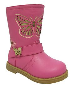 Take a look at this Fuchsia Butterfly Buckle Boot on zulily today!