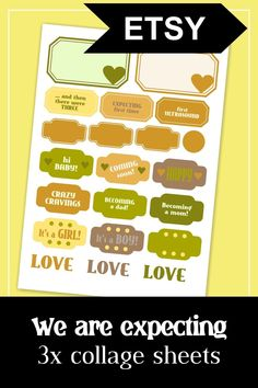 We are expecting. Pregnancy journal collage sheet kit in gender-neutral colors. Ideal for the first trimester. #pregnancy #journal #expecting #collage #sheet #printable #printables #ephemera #first #trimester Gender Neutral Colors, Pregnancy Journal, Collage Sheet, Digital Collage, Planner Stickers, Ephemera, Card Making, Clip Art, Printables