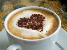 Coffee Heart Art - do this on kids' hot chocolate? Use cookie cutter?