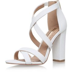 Faun White High Heel Sandals by Miss Kg ($89) ❤ liked on Polyvore featuring shoes, sandals, heels, zapatos, white, white shoes, miss kg, miss kg shoes, white sandals and high heel shoes