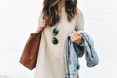 Jean Jacket & Oversized bag. #Tan #outfit