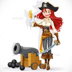 Pirate Girl with Parrot and Cannon