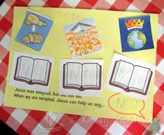 Jesus Temptation Sunday School Activity Children Stick On Pictures Of Temptations And Bibles